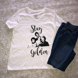 "Tops - Hand Embellished ""Stay Golden"" Golden Girls Shirt"